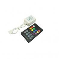 STEROWNIK DO TAŚM DIODOWYCH LED RGB RF 18-KEY AUDIO  CONTROLLER (RF) 6A